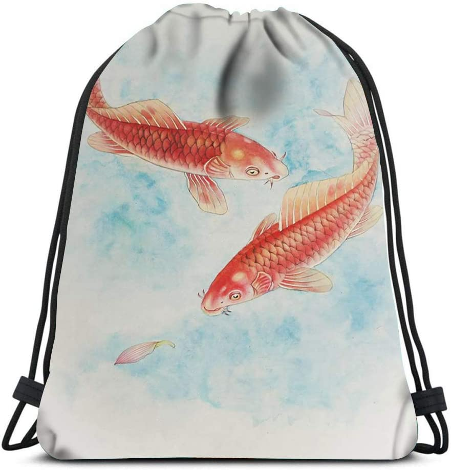 Drawstring Backpack Two Carp In Water Painted Chinese Style Laundry Bag Gym Yoga Bag