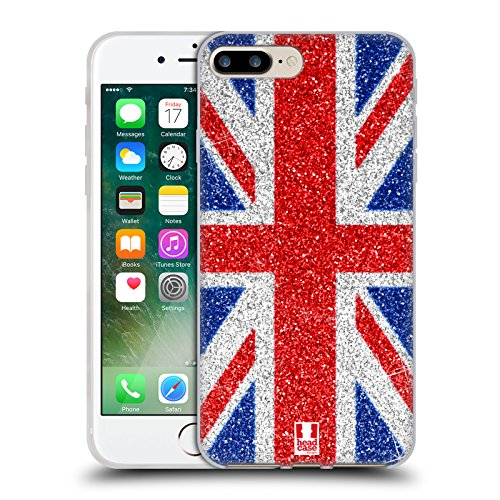 Head Case Designs Red And Blue Glitter Union Jack Collection Soft Gel Case for Apple iPhone 7 Plus / 8 (Products Union)