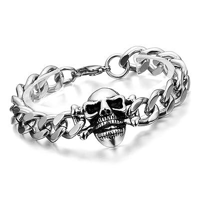 93d9821868c Cupimatch Homme Punk motard gothique Tête de mort en acier inoxydable  massif Chaîne Link Bracelet
