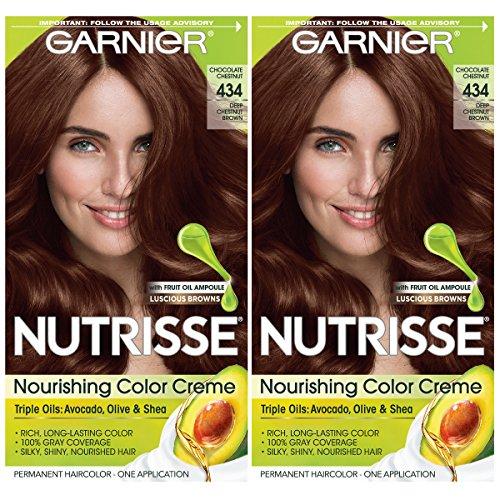 Garnier Hair Color Nutrisse Nourishing Creme, 434 Deep Chestnut Brown (Chocolate Chestnut), 2 Count (Mousse Chocolate Triple)