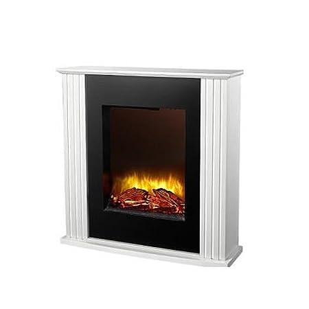 Mojawo ® ELETTRICA CAMINO LED con effetto fuoco con MDF CAMINO bordatura Bianco
