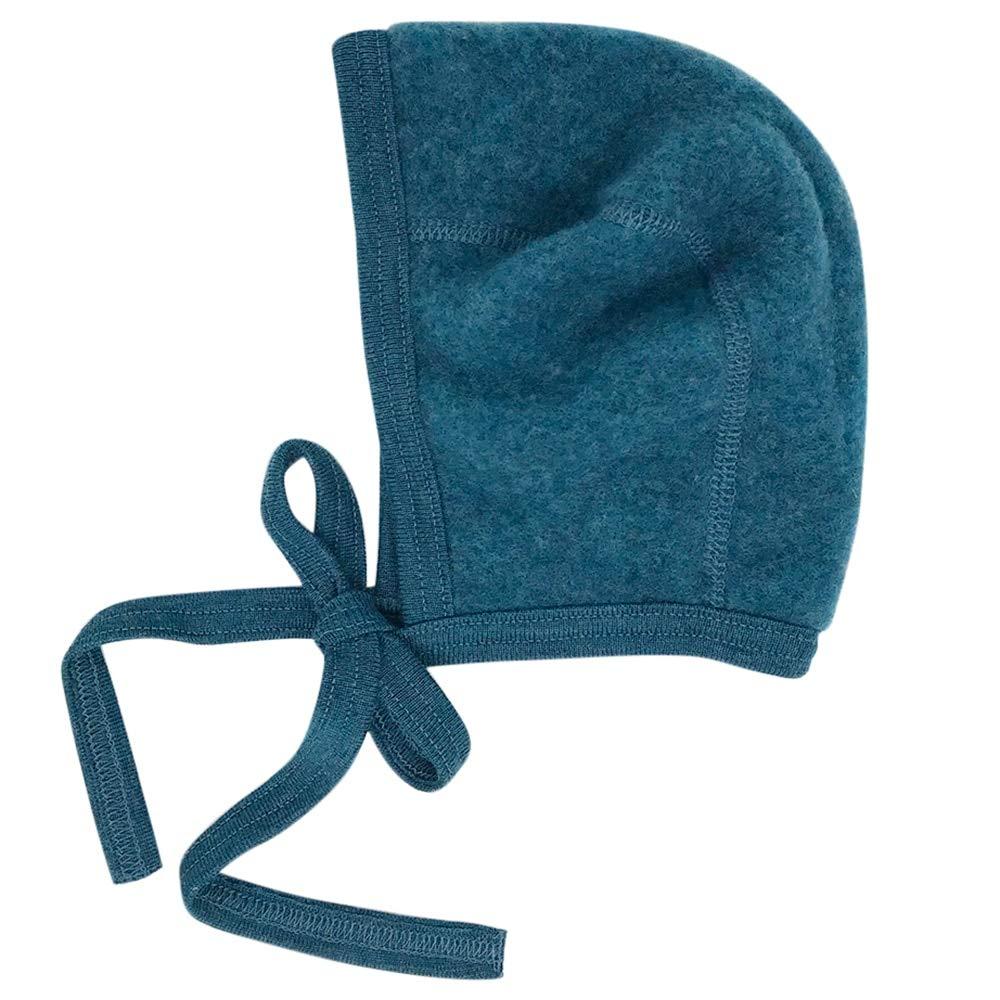 Newborn Baby Bonnet: Infant Ear Protection Hat Pilot Cap, 0-6 months, Organic Merino Wool Fleece (Teal Melange, EU 50/56   0-3 months) by Ecoable