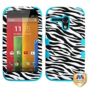 MYBAT Zebra Skin/Tropical Teal TUFF Hybrid Phone Protector Cover for MOTOROLA Moto G