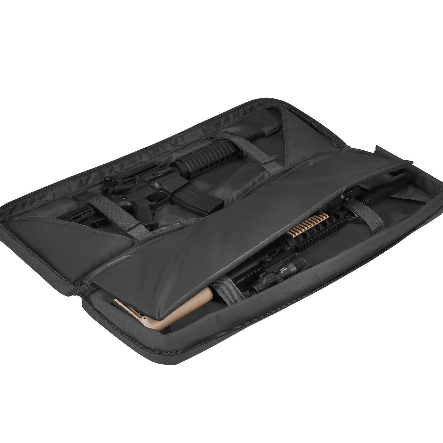 BOW-TAC Double Long Rifle Gun Case Bag Tactical Rifle Backpack Pistol Soft Firearm Transportation Carbine Case - Lockable Compartment, Available Length in 36'' 42'' 46'' by BOW-TAC (Image #2)
