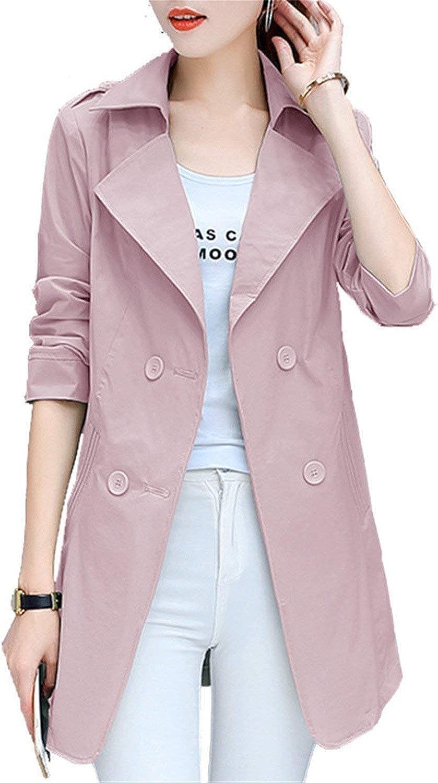 yuCKNN8nV Fashion Women Slim Overcoat Medium Long Trench Coat Spring Autumn Pockets Office Windbreaker Coat Outerwear Clothing,Small,Green