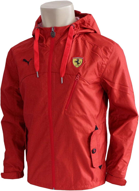 Puma Scuderia Ferrari F1 Classic Woven Jacke Rot Windbreaker Regenjacke Kapuze Rosso Corsa M Bekleidung