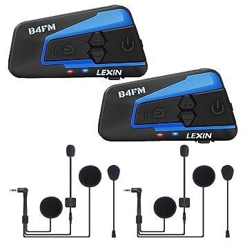 LEXIN Pro B4FM Auriculares Intercomunicador Moto Bluetooth, intercomunicador Casco Moto con FM, Comunicación Intercom cancelación de Ruido, Manos ...