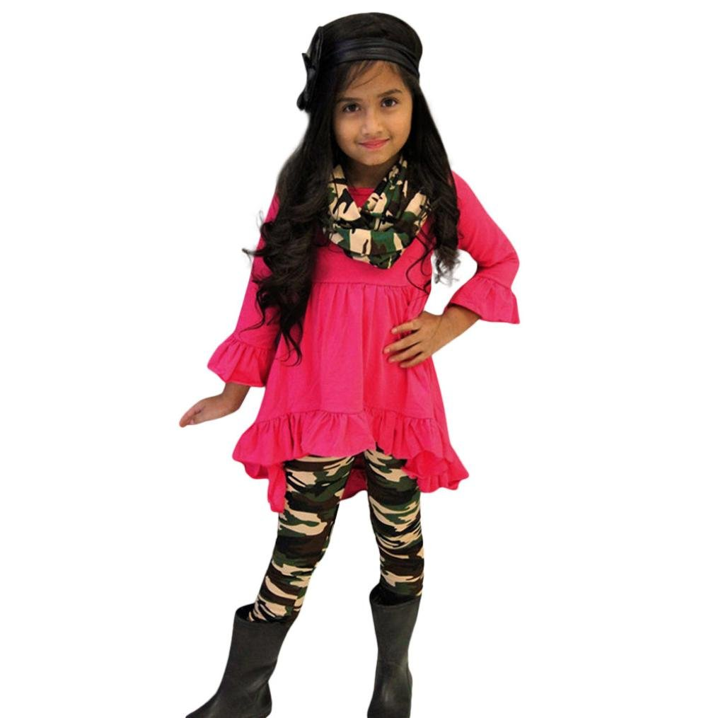 Sunbona 3Pcs Toddler Baby Girls Princess Butterfly Sleeve Dress Blouse+Camouflage Pants Casual Party Outfits Cloths