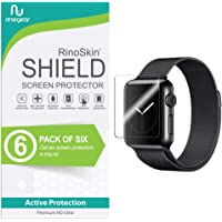 [6-Pack] RinoGear for Apple Watch Screen Protector 38mm (Series 3, 2, 1) [Active Protection] Sport Flexible HD Crystal Clear Anti-Bubble Film