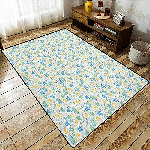 Large Area mat,Baby,Retro Newborn Items Stroller Rubber Duck Milk Bottle Pin Pyjamas Pattern,Extra Large Rug,3'11