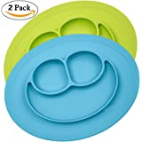 Silicone Placemat for Kids, Toddlers,Kitchen Dining Table Diner Portable Roll Up Non Slip Washable Restaurant Food Mat plate (Blue + green)