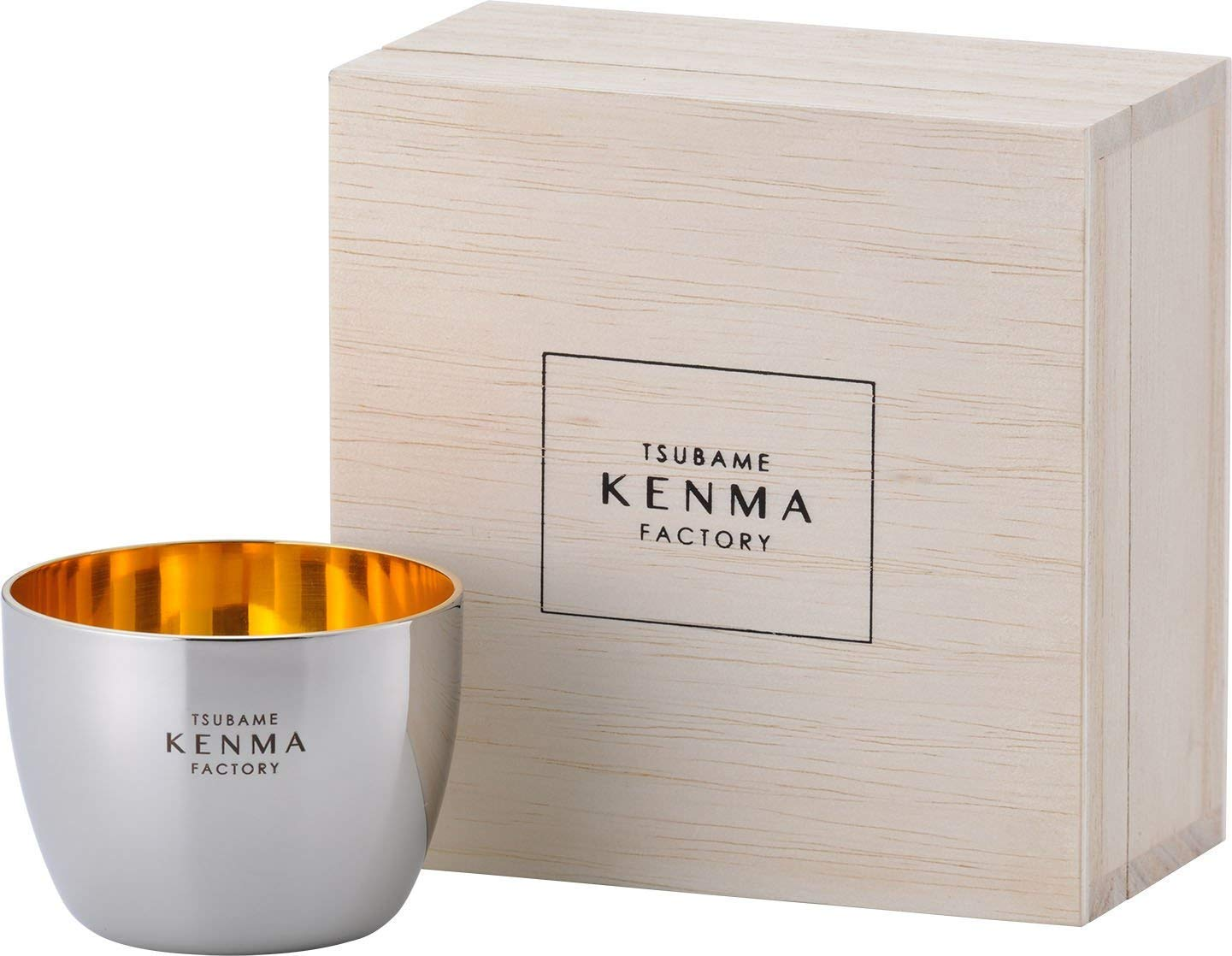 TSUBAME KENMA Stainless Gold-Plated Japanese Sake Cup Round Guinomi 1033745 from Japan by BELNES