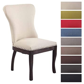 Clp Chaise De Salle A Manger Windsor En Tissu I Chaise Moderne Design Scandinave Pieds En Bois Dossier Et Assise Confortable I Hauteur Assise 48 Cm I