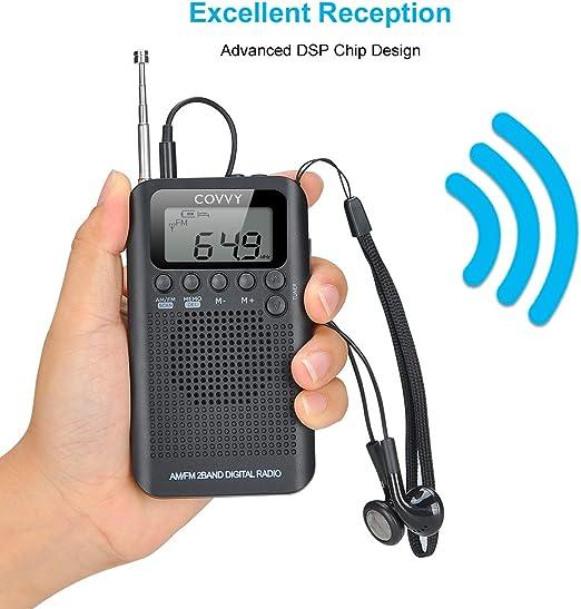 Radio Portátil Pequeña Mini Radio de Bolsillo Am FM Estéreo Sintonización Digital Radio con Altavoz de Sonido Reloj Despertador y Temporizador ...