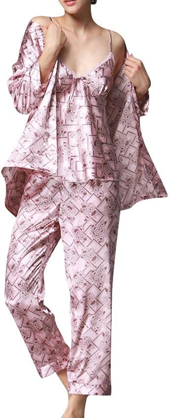 Mujer Pijamas Set Satin Camisones Pijamas Satén Manga Larga ...
