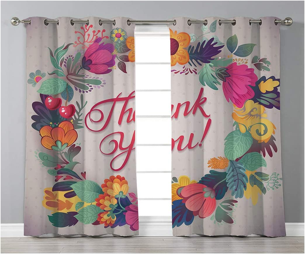 Goods247 Blackout Curtains,Grommets Panels Printed Curtains for Living Room Set of 2 Panels,55 by 95 Inch Length ,Flower Decor