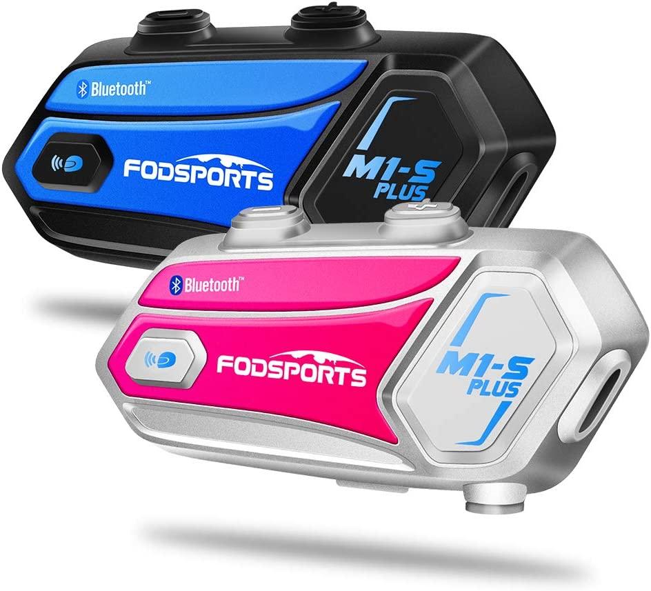 1 Blue Bluetooth Motorcycle Headset FODSPORTS M1-S Plus Stereo Music Share//Mute Microphone//Built in FM 8 Riders Motorcycle Intercom Helmet Communication System Voice Dial// 900MAH// Boom /& Soft Mic