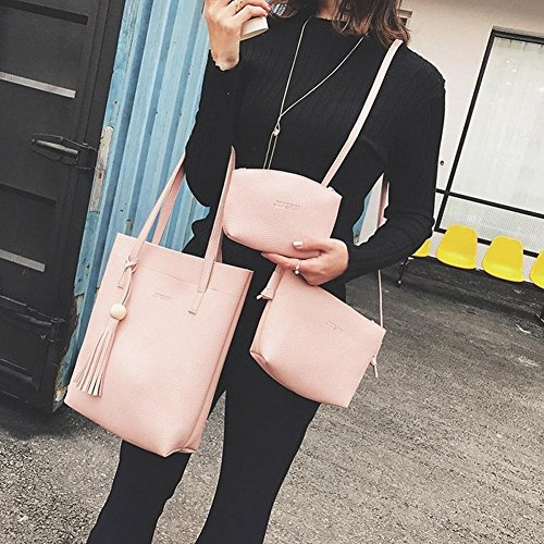 Faux Black Tassel Cross dragonaur Large Set Lady Pink Handbag 3Pcs Leather Body Bag Shoulder size q4UAStnO