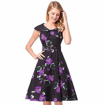 NSSBZZ Mujer Hermosa Falda Viento 50S Collar Imprimir Vestido Violeta S