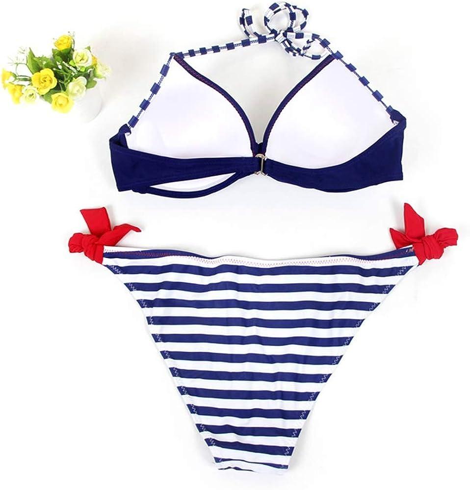 Cassiecy Bikini Damen Set Push Up Bademode Zweiteilige Neckholder Bikini High Waist Bikinihose Split Badeanzug Strandkleidung