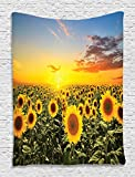 Sunflower Tapestry Housewarming Gifts Tapestry Wall Hanging Nature Art Sunflower Garden Sunflowers Landscape Theme Decor for Bedroom Living Room Home Decorations Fabric Room, Orange Blue Green Yellow