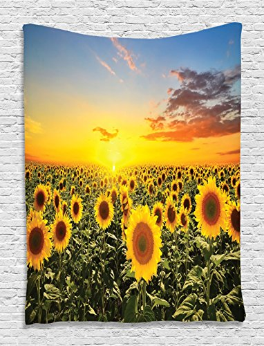 Ambesonne Sunflower Tapestry Housewarming Gifts Tapestry ...