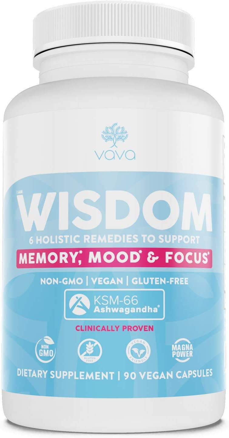VAVA Stimulant-Free Brain Formula to Support Memory, Mood and Anxiety – Herbal Supplement with Ashwagandha KSM-66 Lions Mane, Bacopa, Rhodiola, Ginkgo Biloba, Ginger, Creatine, Magnesium Capsule