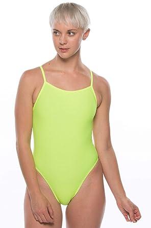 64b576329319e JOLYN Women's Fixed-Back Brandon One-Piece Swimsuit (28, Highlighter Yellow)