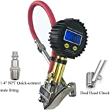 Healink Digital Tire Inflator with Pressure Gauge, 150 PSI Air Tire Inflator with Dual Head Chuck and Backlit LCD for Car Motorcycle Bike Truck All Vehicles