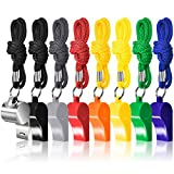 8 Packs Coaches Referee Whistles with Lanyards, FineGood 7 Colorful Plastic and 1 Stainless Steel Metal Whistles for Football Sports Lifeguards Survival Emergency Training - Multi-Color