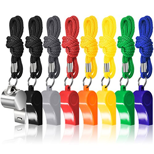 FineGood 8 Packs Coaches Referee Whistles with Lanyards, 7 Colorful Plastic and 1 Stainless Steel Metal Whistles for Football Sports Lifeguards Survival Emergency Training - -