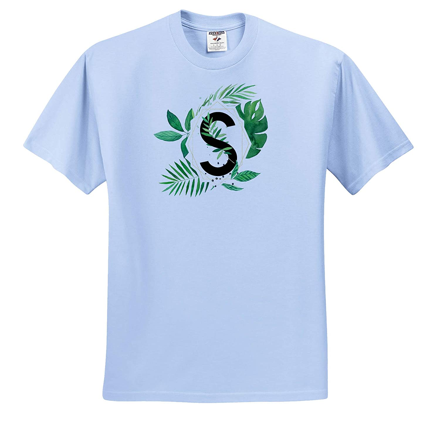 3dRose Anne Marie Baugh Monograms ts/_318113 Chic Image of Watercolor Tropical Leaves Monogram S Adult T-Shirt XL
