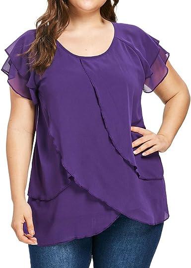 wyxhkj Tops Camiseta Mujer Verano, Mujer Blusa Manga Corta O-Cuello Volantes Color Sólido Camisetas Mujer Tallas Grandes Causal Blusa Verano Elegante: Amazon.es: Ropa y accesorios
