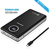 Quick Charge 3.0 In/Output, Poweradd 20100mAh Power Bank Dual USB Ports (3.8A Output LG 18650 Battery) with Digital LED Display and Flashlight for Smartphones and Tablets, TI Protection System