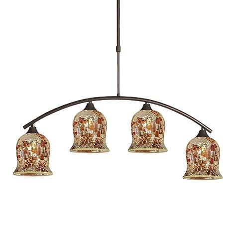 Lámpara de suspensión con 4 tulipas de cristal mosaico ...