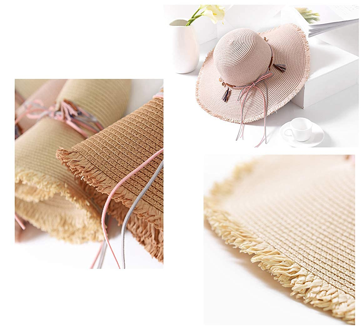 Summer Holiday Beach Hat Packable Travel Big Brim Straw Hat for Lady ilishop Straw Floppy Sun Hat