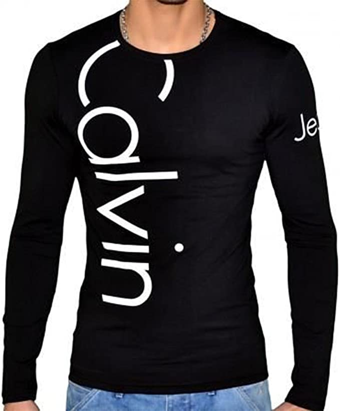 CALVINKLEIN - Camiseta de Manga Larga - para Hombre Negro y Blanco ...