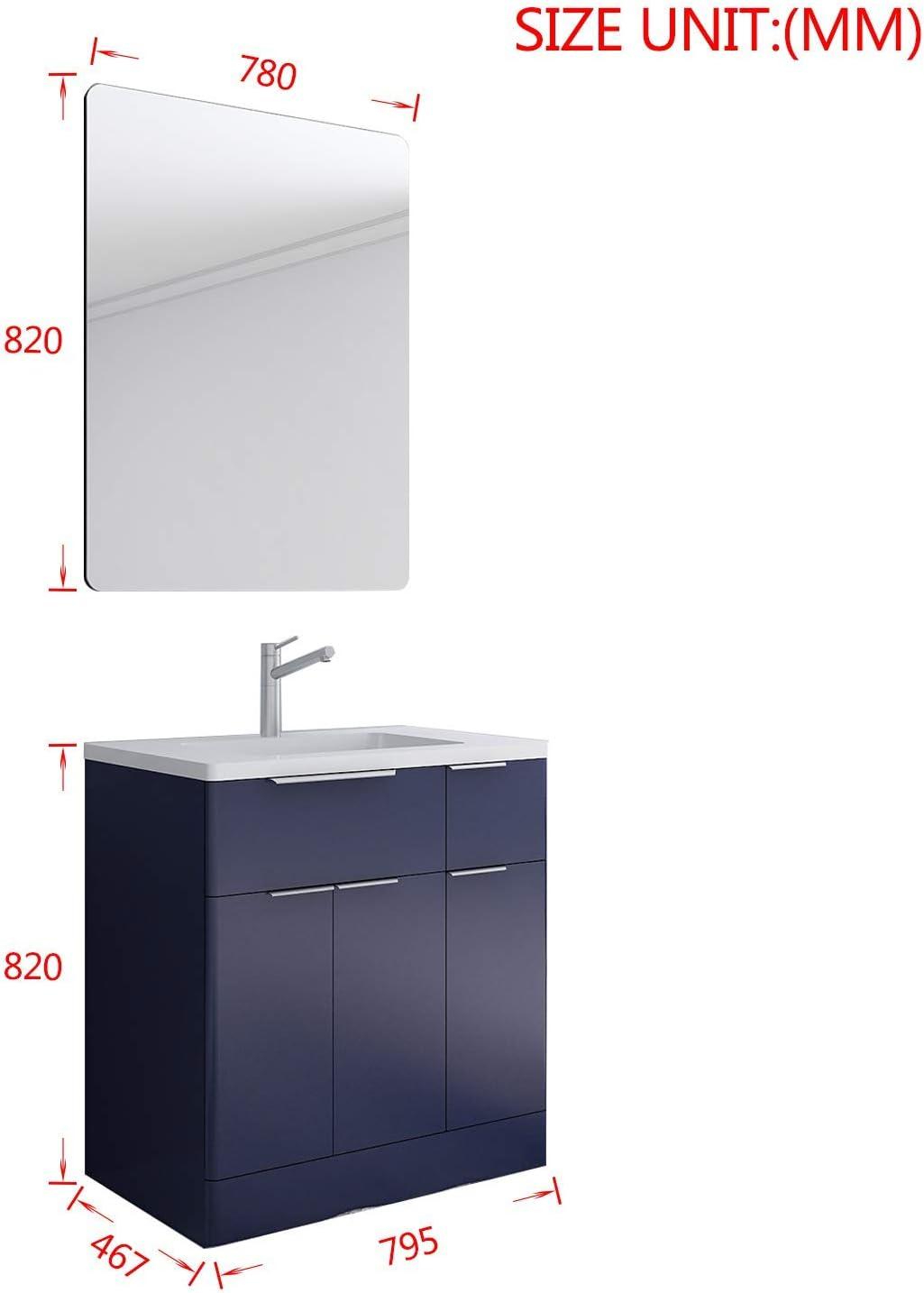 XINKROW Waschtisch mit Unterschrank 80CM Waschbecken Kombischrank g/ünstige badm/öbel Set mit viel Stauraum in Wei/ß Hochglanz//Mattblau 1 Badspiegel 1 Acryl Waschbecken 1 Unterschrank