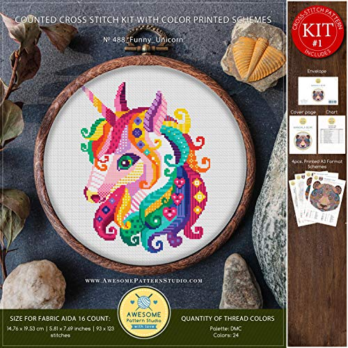 Funny Unicorn #K488 Cross Stitch Kit | Stitching | Cross Stitch World | Needlepoint Kits | Embroidery Designs | Cross Designs