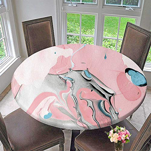 PINAFORE HOME Round Premium Tablecloth Marbled DIY Paper Made with Color and Water Organic Texture Fabric Textile Surface Design Stain Resistant 31.5