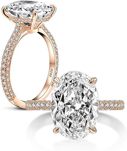 New Women Fashion Jewelry Size 10 925 Gold Plated Black Rhinestone Oval Ring