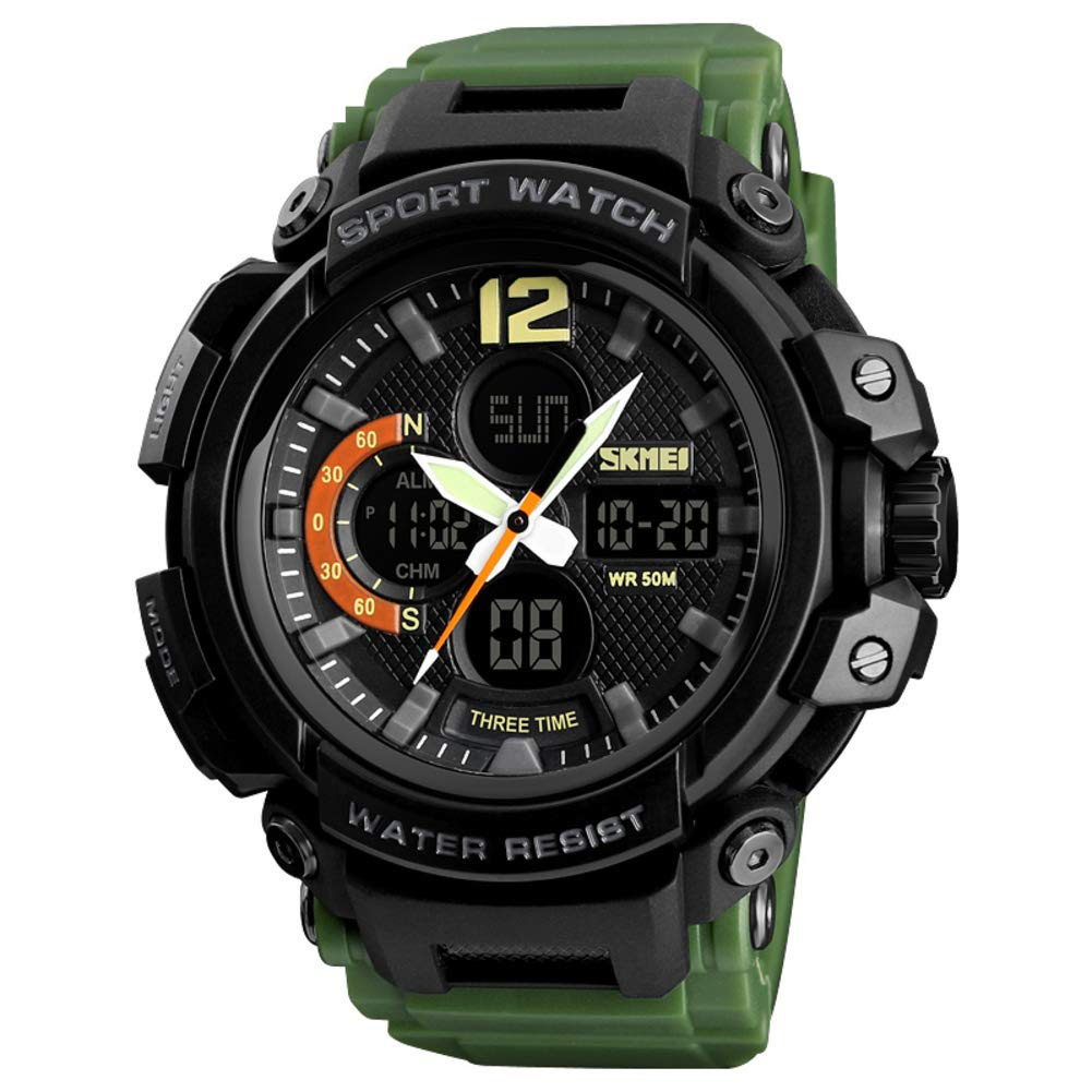 Watch,Male Fashion Student Waterproof Multi-Function Sports Large Dial Electronic Watch-a by WWGZ