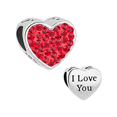 a54adaa35 Uniqueen New Heart I Love You Charms Birthstone Crystal Sale Cheap Beads  fit Pandora Charm Bracelet Gifts (Red): Amazon.co.uk: Jewellery