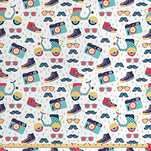 Hipster Fabric by the Yard by Ambesonne, Teenager Fun Pattern with Mustache Photo Camera Scooter Sneakers and Sunglasses, Decorative Fabric for Upholstery and Home Accents, - Hipster Photo To Add Glasses