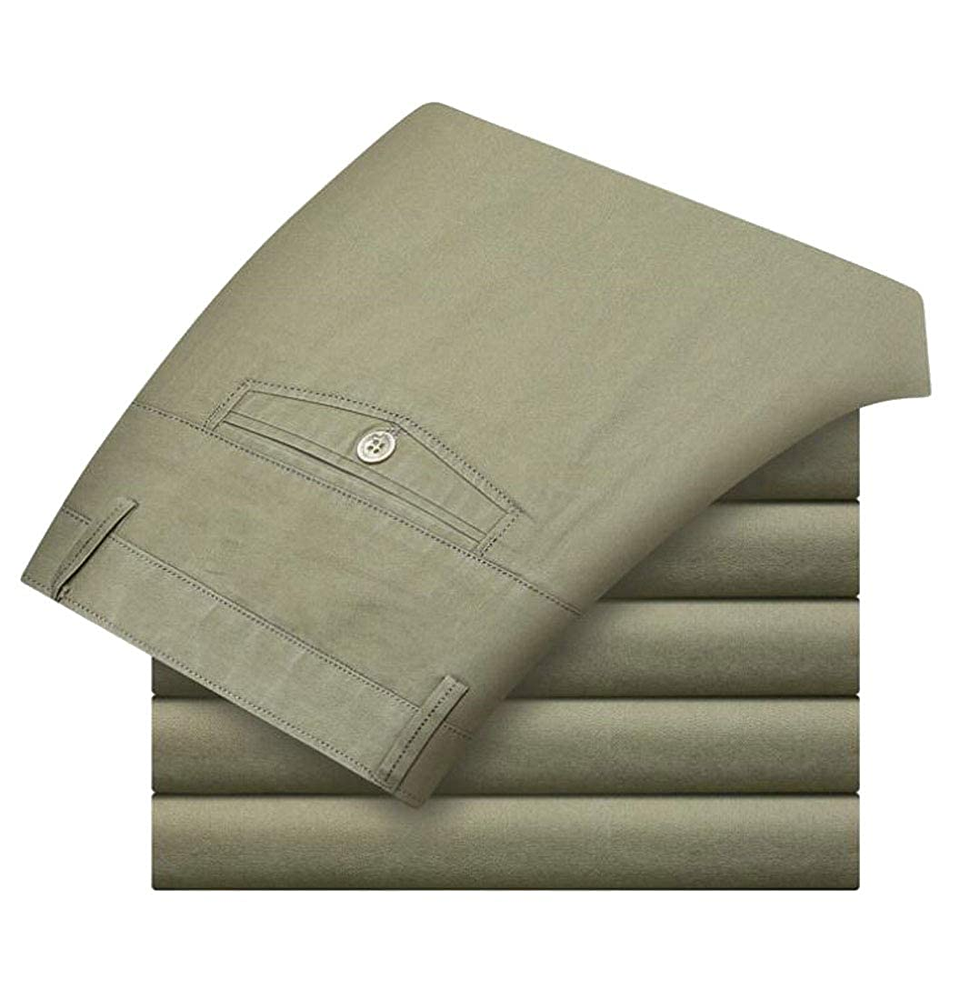 Frieed Men Expandable-Waist Flat-Front Basic Straight Cotton Dress Pants