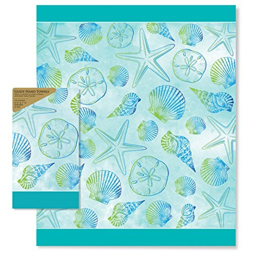 Paper Guest Towels Bathroom: Paper Guest Teal Seashell Hand Towels