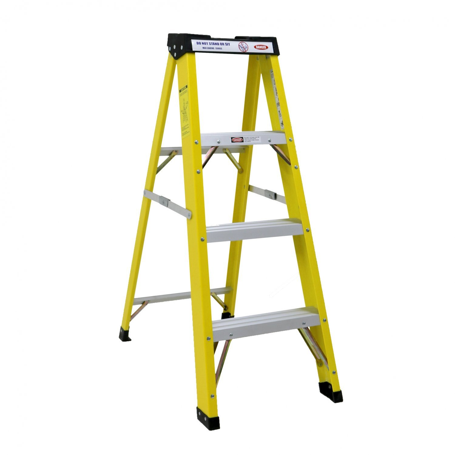 Oypla Fibreglass 4 tread Step Ladder Heavy Duty Electrician's Professional-Grade 30, 000V Rated OYP3402