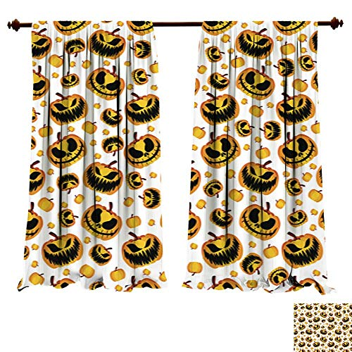 (Panels Sun Blocking Curtains Scary and Spooky Halloween Pumpkin Seamless Halloween Pattern1 Thermal Insulated Window)