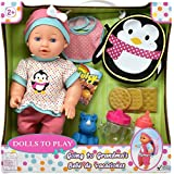 Baby Doll Feeding Set, Includes 12 Inch Doll with School Backpack, Feeding Toys, Milk Bottle, Juice Sippy Cup, Bib, Rubber Hippo and Juicy Candy Box, Lunch Snack Crackers
