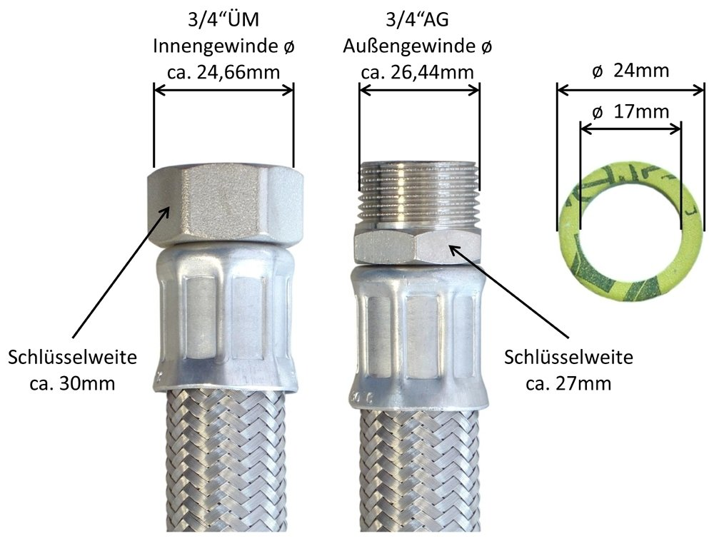 Flexschlauch DN19 mit Edelstahlumflechtung Panzerschlauch 3//4/ÜM x 3//4AG